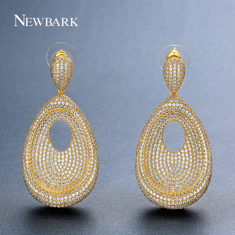 NEWBARK Round Hollow Drop Earrings Ethnic Big Waterdrop Long Earrings Paved Cubic Zirconia For Women Vintage Gold Color Jewelry