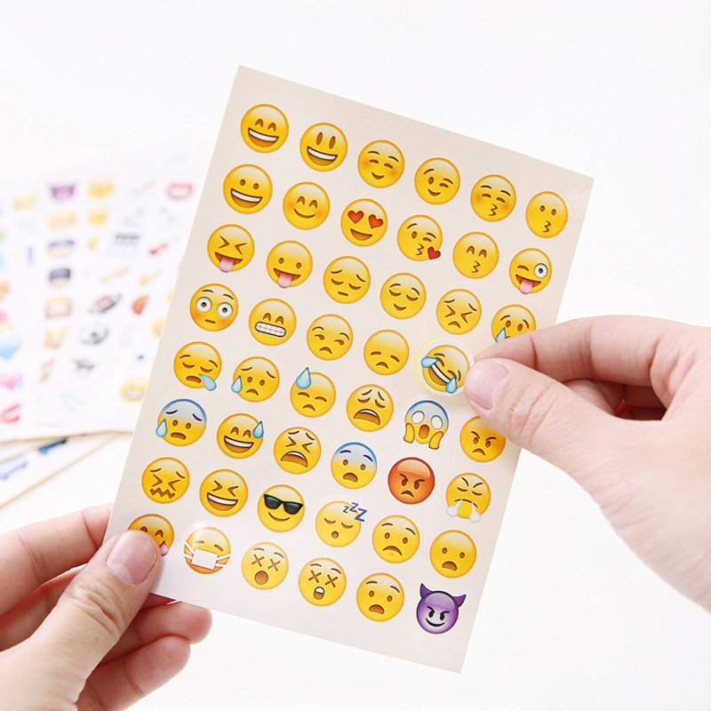 10 sheets/Pack Emoji Stickers Smily Face Stickers For Notebook Message Classical Kids Toys For Diary Photo Album Reward Stickers