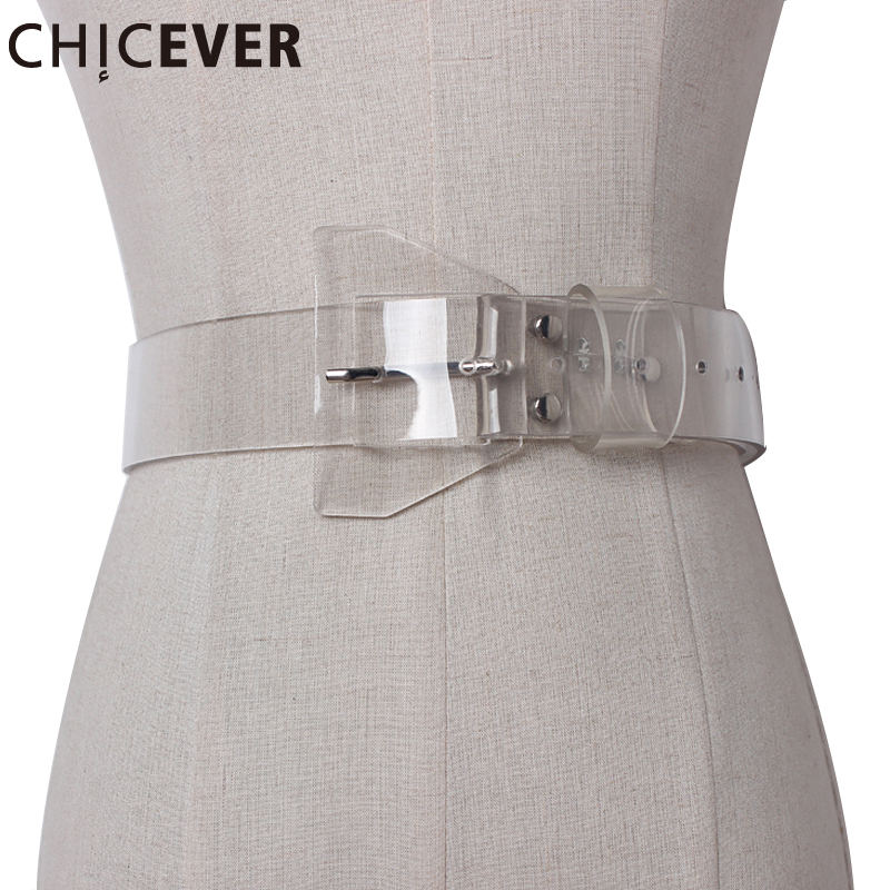 CHICEVER 2017 Casual Female Belts Made Of Genuine Plastic Wild PVC Material Transparent Women Belt Fashion