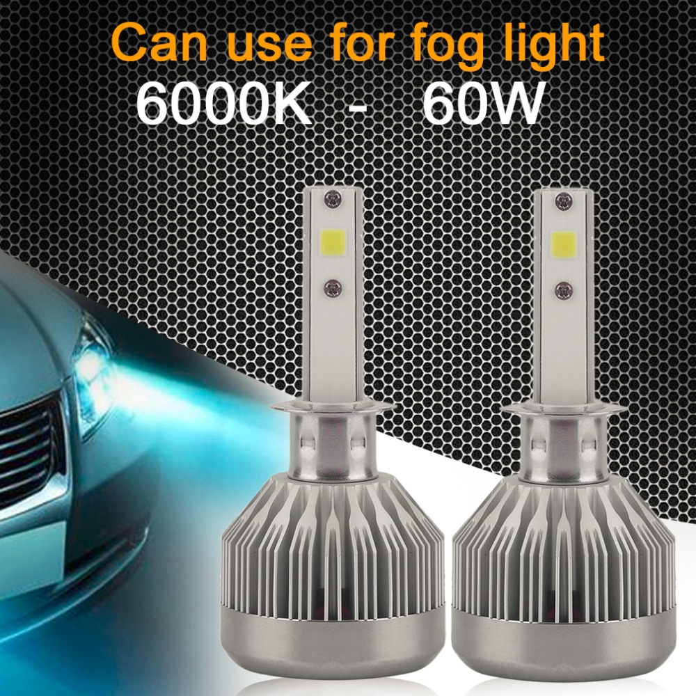 LED 12 V H4 Araba Far 60 W 6000LM H1 H3 H7 H8/H9/H11, 9003/HB3/HB4 LED Kiti Headbulbs COB Cips LED Farlar